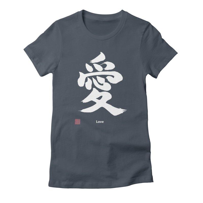 """Love"" (Ai) Japanese Kanji (White) with Stamp and English text Women's T-Shirt by KansaiChick Japanese Kanji Shop"