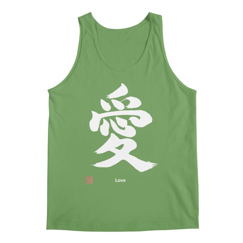 """Love"" (Ai) Japanese Kanji (White) with Stamp and English text Men's Tank by KansaiChick Japanese Kanji Shop"