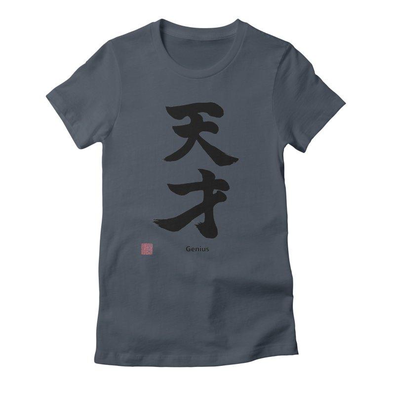 Genius (Tensai) with stamp and English text (Black) Women's T-Shirt by KansaiChick Japanese Kanji Shop