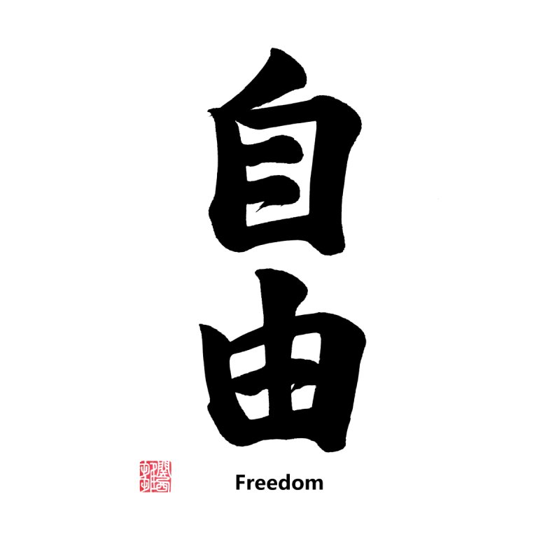"Freedom ""Jiyuu"" Written in Japanese Kanji (With Stamp and English Text)   by KansaiChick Japanese Kanji Shop"