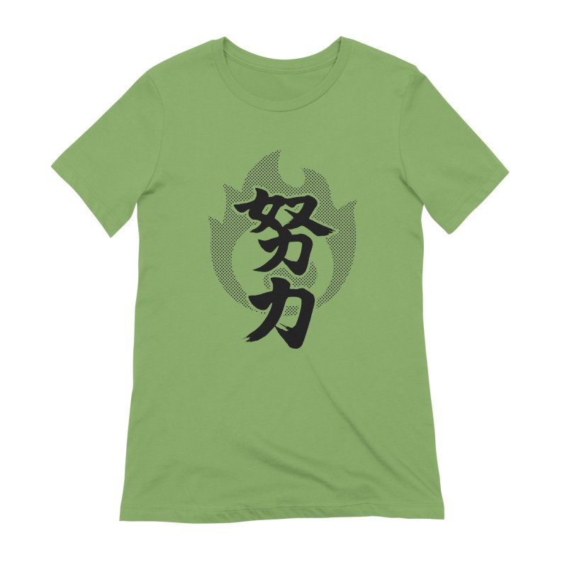 Pushing Yourself (Doryoku) Kanji On Fire Women's Extra Soft T-Shirt by KansaiChick Japanese Kanji Shop