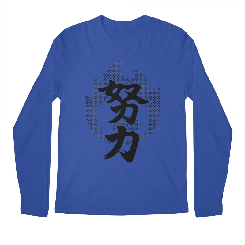 Pushing Yourself (Doryoku) Kanji On Fire Men's Regular Longsleeve T-Shirt by KansaiChick Japanese Kanji Shop