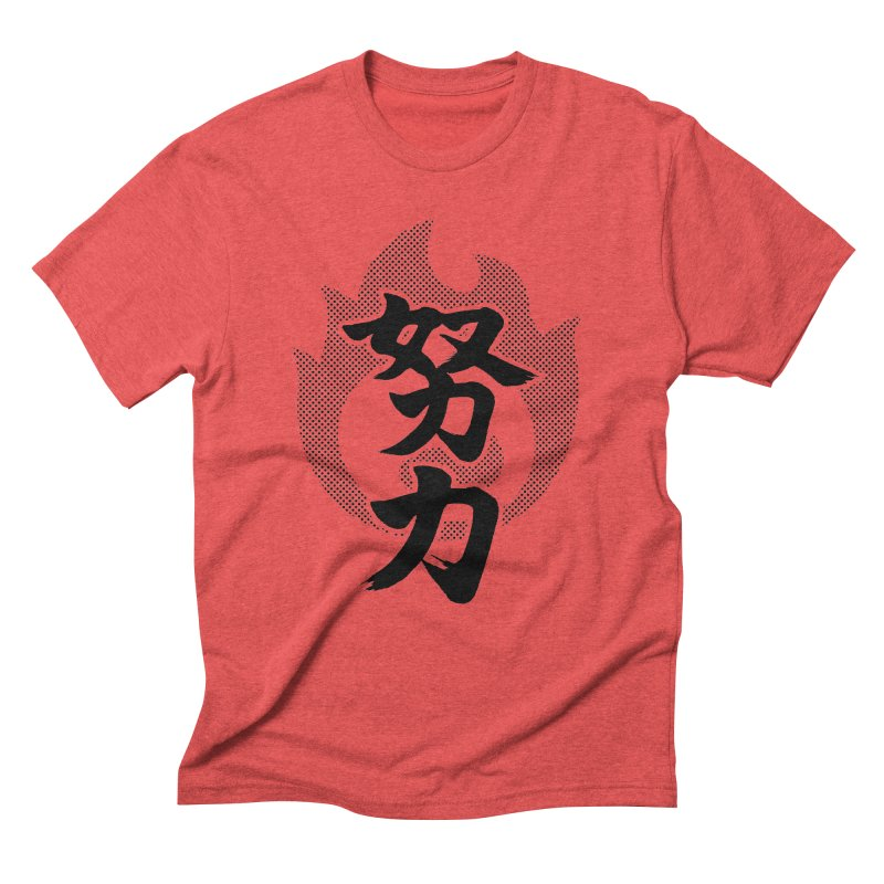 Pushing Yourself (Doryoku) Kanji On Fire Men's Triblend T-Shirt by KansaiChick Japanese Kanji Shop