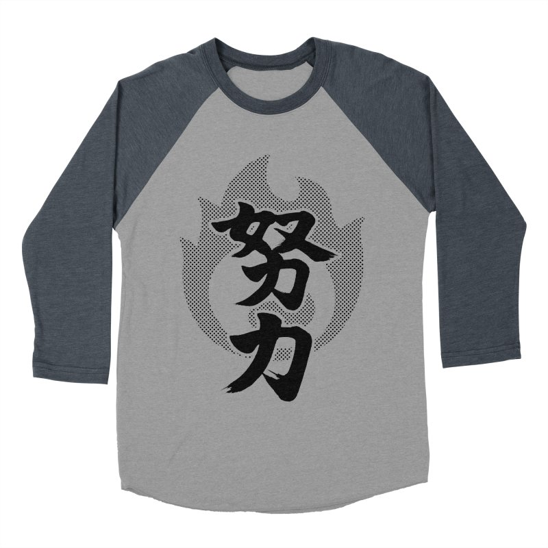 Pushing Yourself (Doryoku) Kanji On Fire Women's Baseball Triblend Longsleeve T-Shirt by KansaiChick Japanese Kanji Shop