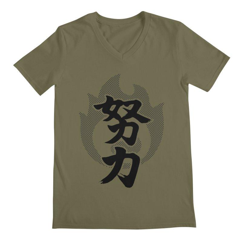 Pushing Yourself (Doryoku) Kanji On Fire Men's Regular V-Neck by KansaiChick Japanese Kanji Shop