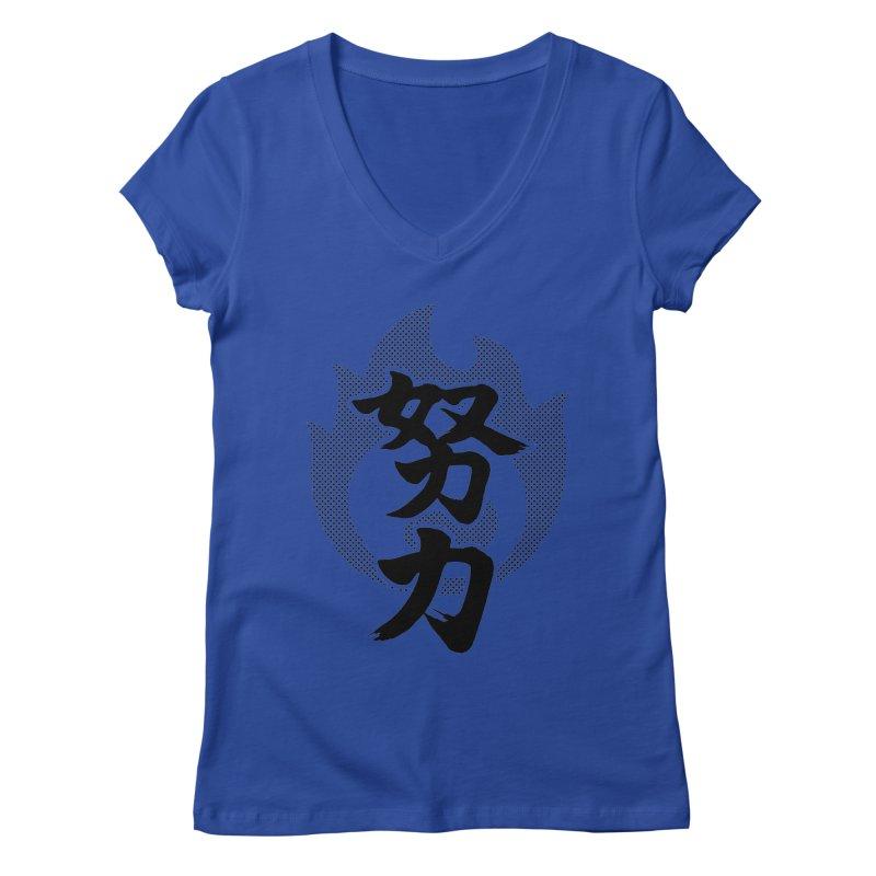 Pushing Yourself (Doryoku) Kanji On Fire Women's Regular V-Neck by KansaiChick Japanese Kanji Shop
