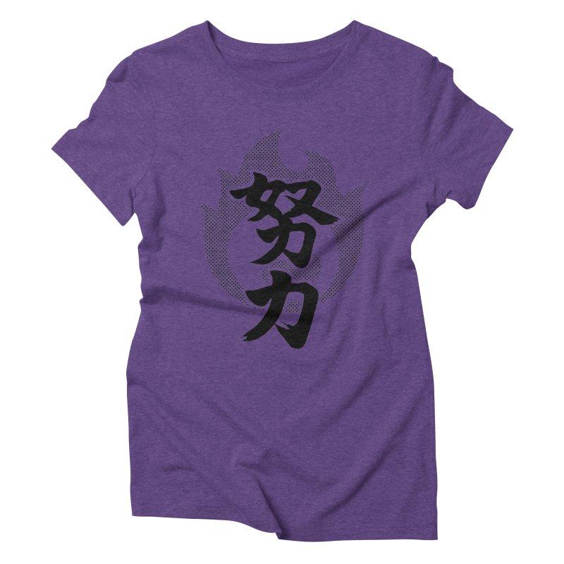 Pushing Yourself (Doryoku) Kanji On Fire Women's Triblend T-Shirt by KansaiChick Japanese Kanji Shop