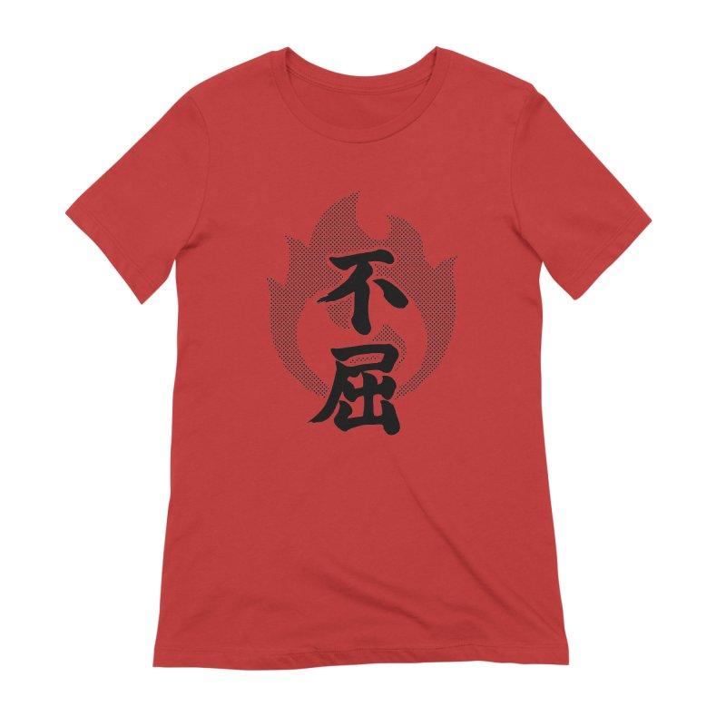 Never Give Up (Fukutsu) Kanji On Fire Women's Extra Soft T-Shirt by KansaiChick Japanese Kanji Shop