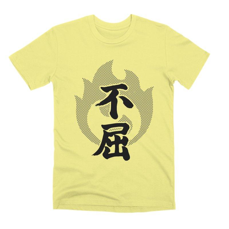 Never Give Up (Fukutsu) Kanji On Fire Men's Premium T-Shirt by KansaiChick Japanese Kanji Shop