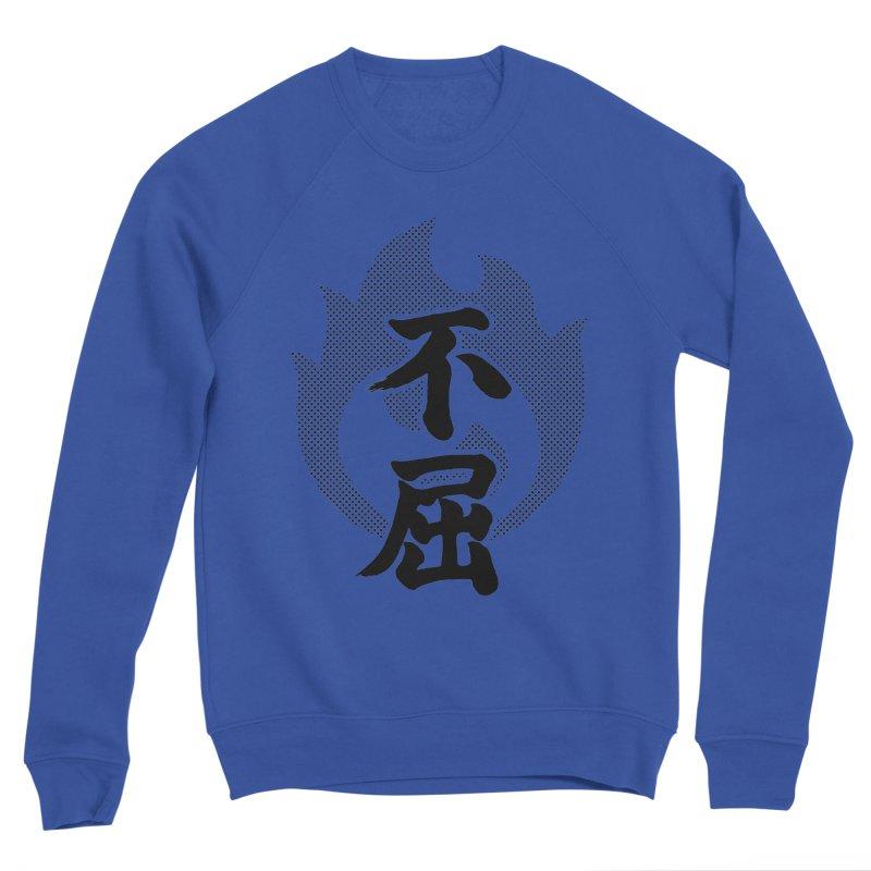 Never Give Up (Fukutsu) Kanji On Fire Men's Sponge Fleece Sweatshirt by KansaiChick Japanese Kanji Shop