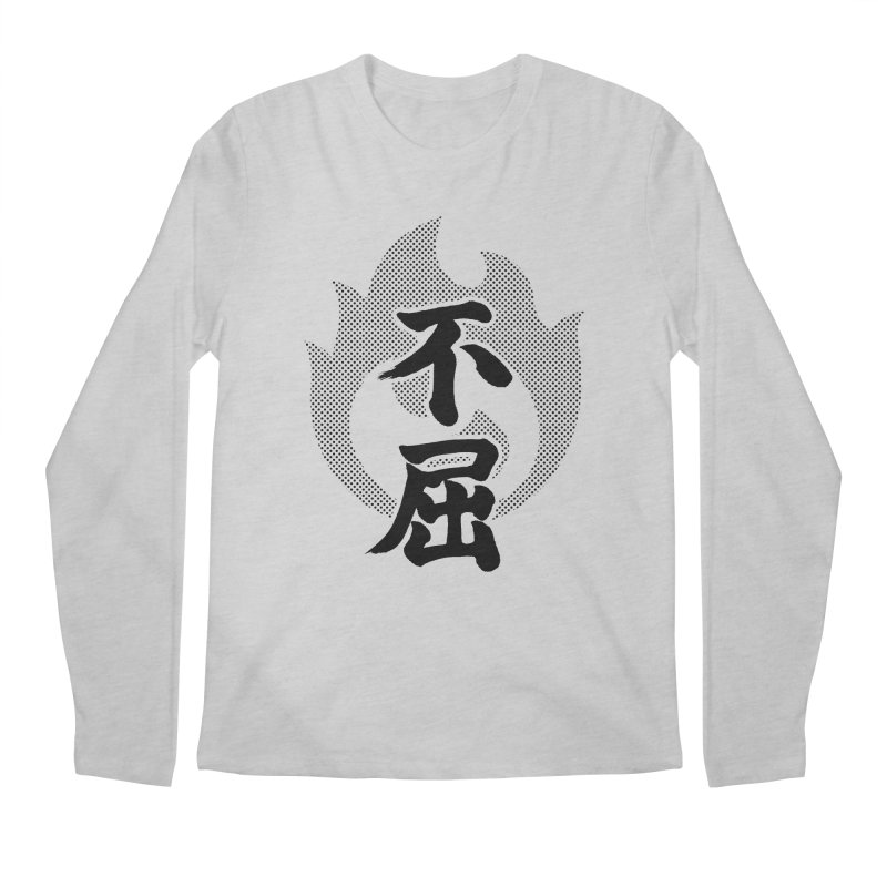 Never Give Up (Fukutsu) Kanji On Fire Men's Regular Longsleeve T-Shirt by KansaiChick Japanese Kanji Shop