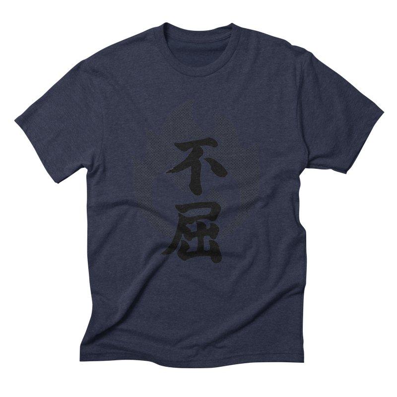 Never Give Up (Fukutsu) Kanji On Fire Men's Triblend T-Shirt by KansaiChick Japanese Kanji Shop
