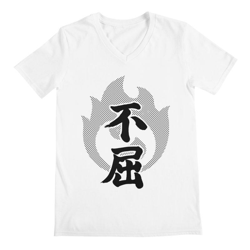 Never Give Up (Fukutsu) Kanji On Fire Men's Regular V-Neck by KansaiChick Japanese Kanji Shop