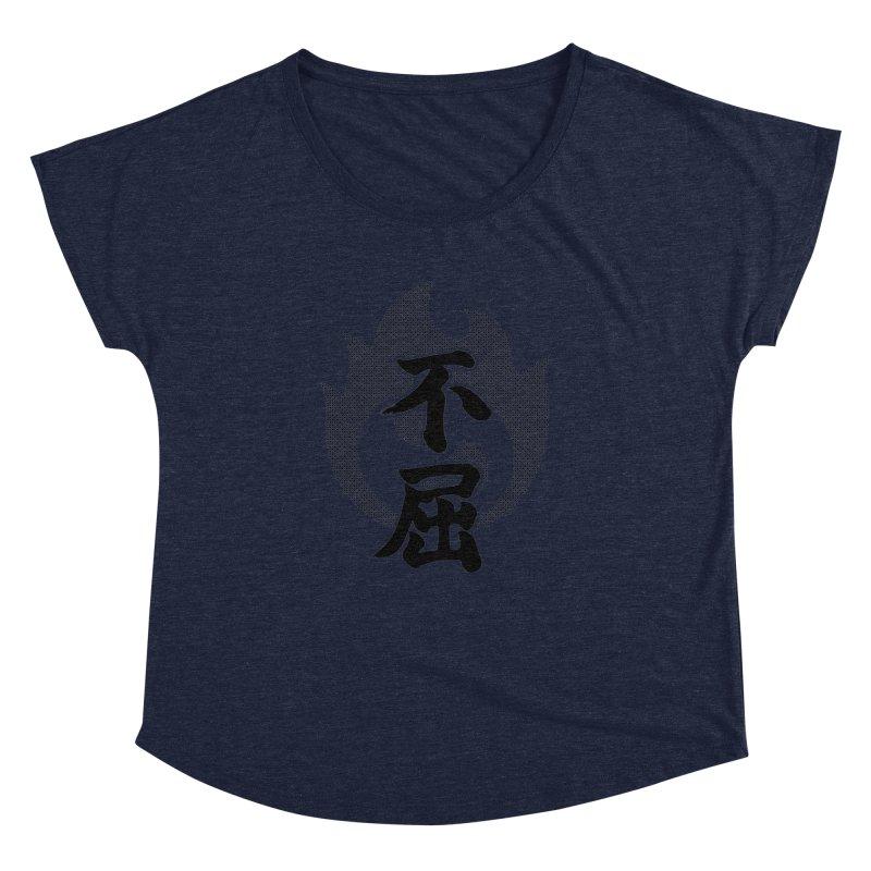 Never Give Up (Fukutsu) Kanji On Fire Women's Dolman Scoop Neck by KansaiChick Japanese Kanji Shop