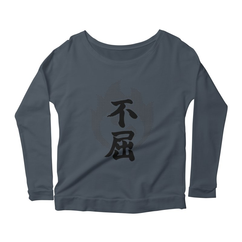 Never Give Up (Fukutsu) Kanji On Fire Women's Scoop Neck Longsleeve T-Shirt by KansaiChick Japanese Kanji Shop