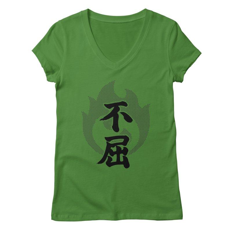 Never Give Up (Fukutsu) Kanji On Fire Women's Regular V-Neck by KansaiChick Japanese Kanji Shop