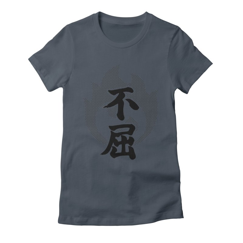 Never Give Up (Fukutsu) Kanji On Fire Women's T-Shirt by KansaiChick Japanese Kanji Shop