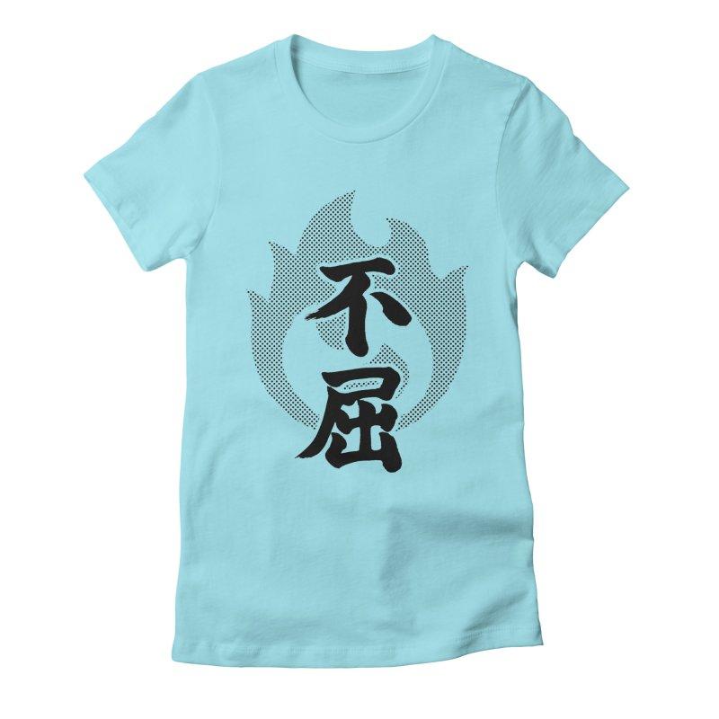 Never Give Up (Fukutsu) Kanji On Fire Women's Fitted T-Shirt by KansaiChick Japanese Kanji Shop