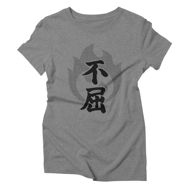 Never Give Up (Fukutsu) Kanji On Fire Women's Triblend T-Shirt by KansaiChick Japanese Kanji Shop
