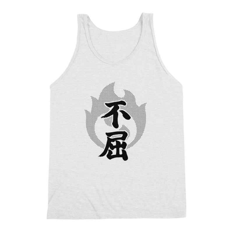 Never Give Up (Fukutsu) Kanji On Fire Men's Triblend Tank by KansaiChick Japanese Kanji Shop