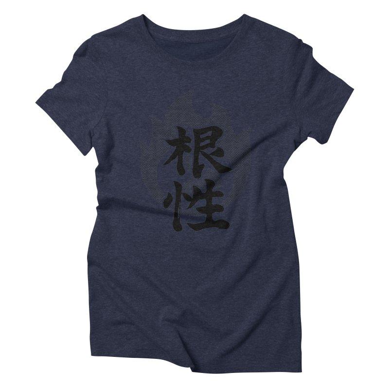 Guts (Konjou) Kanji On Fire Women's Triblend T-Shirt by KansaiChick Japanese Kanji Shop
