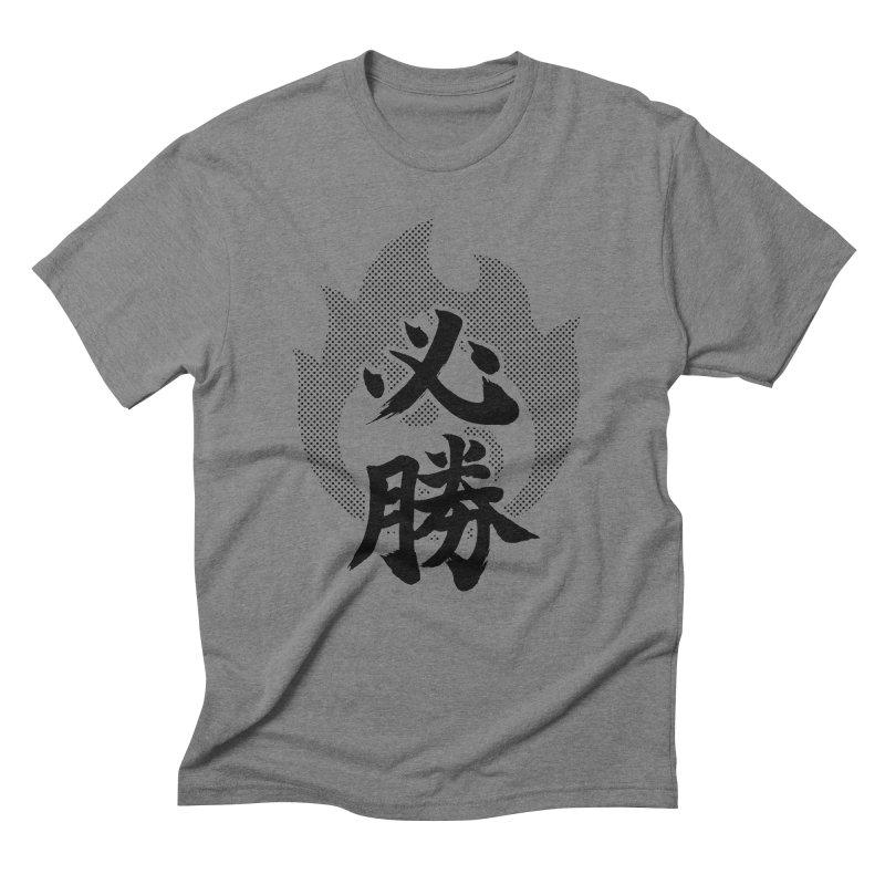 Certain Victory (Hisshou) Kanji On Fire Men's Triblend T-Shirt by KansaiChick Japanese Kanji Shop