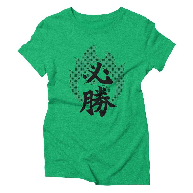 Certain Victory (Hisshou) Kanji On Fire Women's Triblend T-Shirt by KansaiChick Japanese Kanji Shop