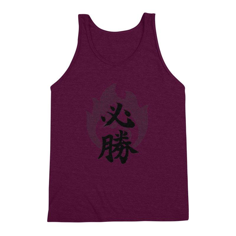 Certain Victory (Hisshou) Kanji On Fire Men's Triblend Tank by KansaiChick Japanese Kanji Shop