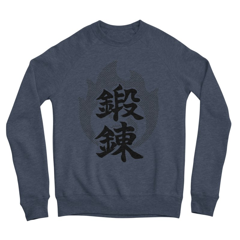 Training (Tanren) Kanji On Fire Men's Sponge Fleece Sweatshirt by KansaiChick Japanese Kanji Shop