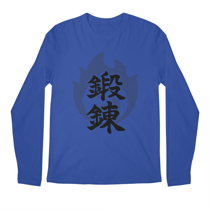 Training (Tanren) Kanji On Fire Men's Regular Longsleeve T-Shirt by KansaiChick Japanese Kanji Shop