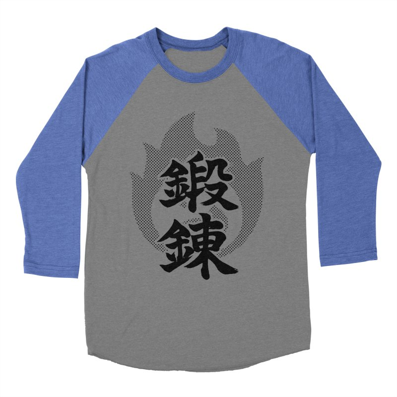 Training (Tanren) Kanji On Fire Women's Baseball Triblend Longsleeve T-Shirt by KansaiChick Japanese Kanji Shop