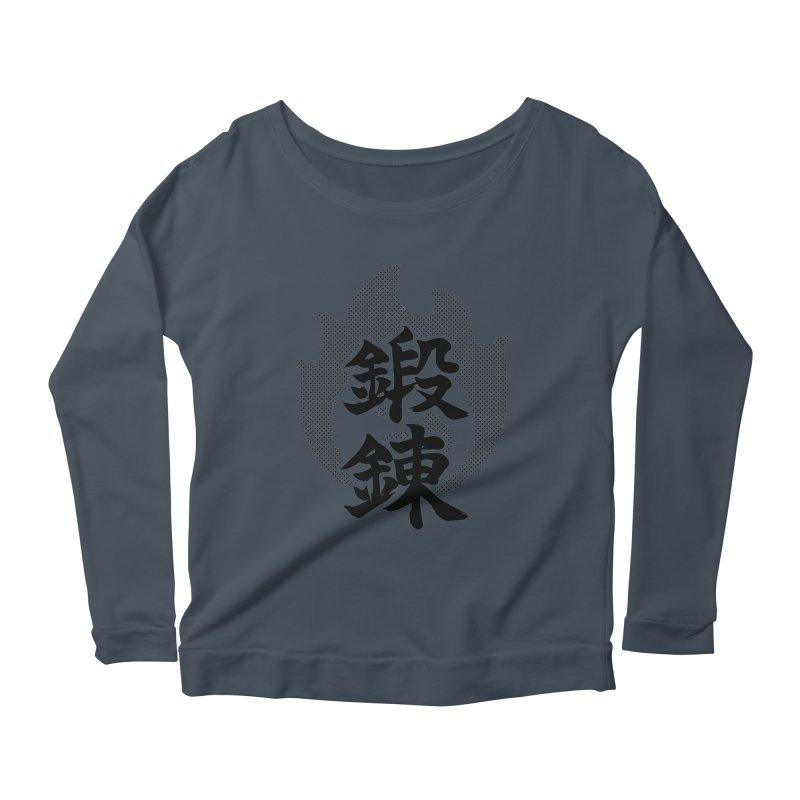 Training (Tanren) Kanji On Fire Women's Scoop Neck Longsleeve T-Shirt by KansaiChick Japanese Kanji Shop