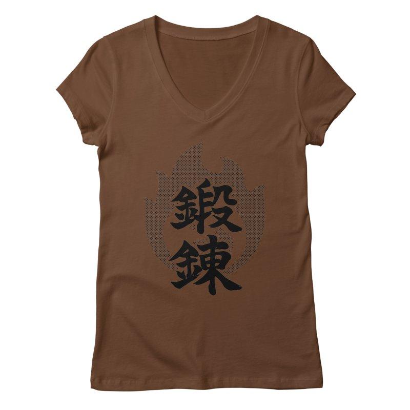 Training (Tanren) Kanji On Fire Women's Regular V-Neck by KansaiChick Japanese Kanji Shop