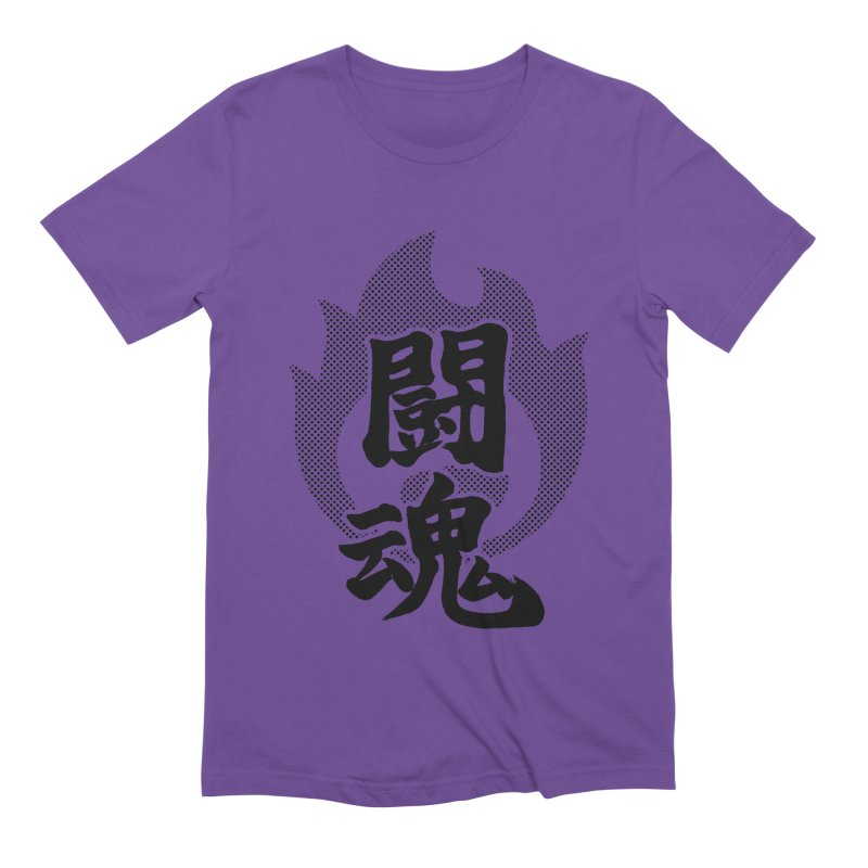 Fighting Spirit (Toukon) Kanji On Fire Men's Extra Soft T-Shirt by KansaiChick Japanese Kanji Shop