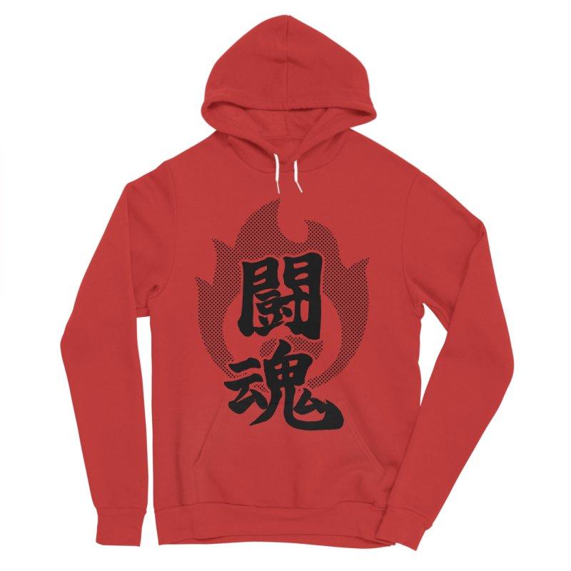 Fighting Spirit (Toukon) Kanji On Fire Men's Sponge Fleece Pullover Hoody by KansaiChick Japanese Kanji Shop
