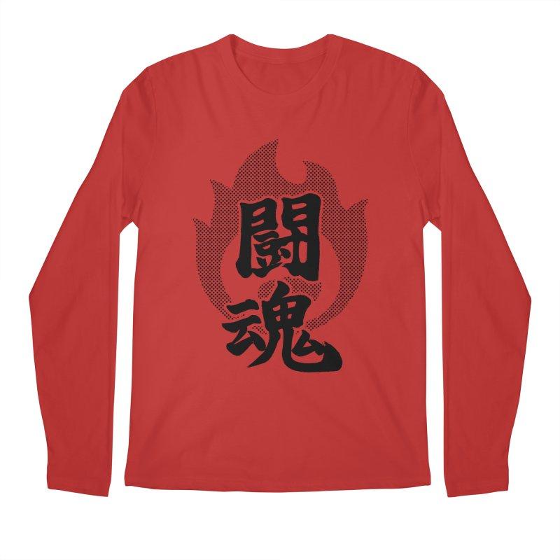 Fighting Spirit (Toukon) Kanji On Fire Men's Regular Longsleeve T-Shirt by KansaiChick Japanese Kanji Shop