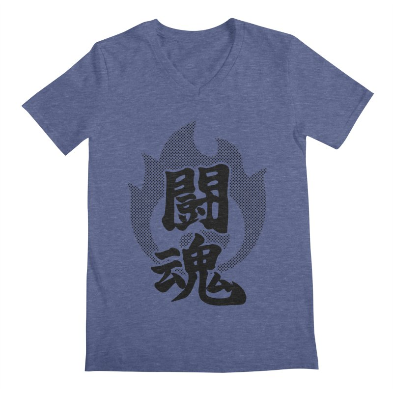 Fighting Spirit (Toukon) Kanji On Fire Men's Regular V-Neck by KansaiChick Japanese Kanji Shop