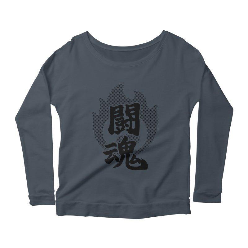 Fighting Spirit (Toukon) Kanji On Fire Women's Scoop Neck Longsleeve T-Shirt by KansaiChick Japanese Kanji Shop