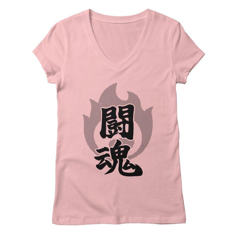 Fighting Spirit (Toukon) Kanji On Fire Women's Regular V-Neck by KansaiChick Japanese Kanji Shop