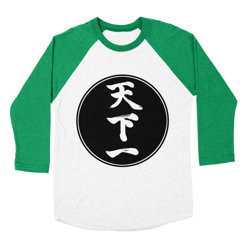 #1 Under Heaven (Tenkaichi) Kanji Circle Pop Art Women's Baseball Triblend Longsleeve T-Shirt by KansaiChick Japanese Kanji Shop