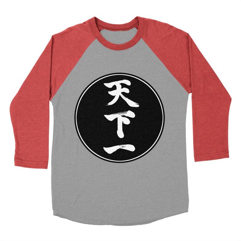 #1 Under Heaven (Tenkaichi) Kanji Circle Pop Art Women's Baseball Triblend Longsleeve T-Shirt by KansaiChick Japanese Kanji Shop