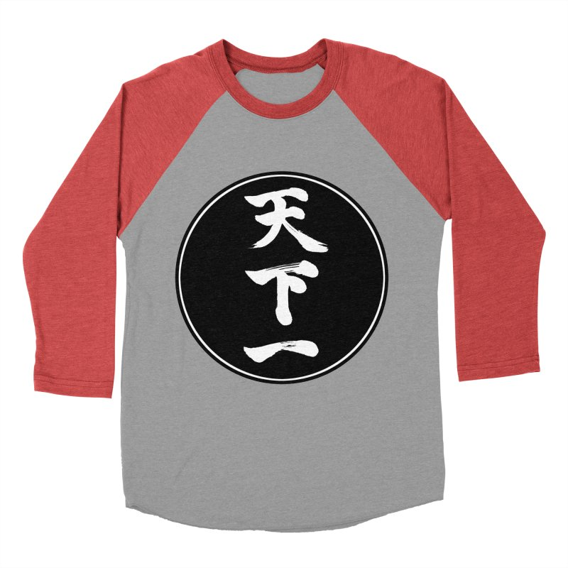 #1 Under Heaven (Tenkaichi) Kanji Circle Pop Art Men's Baseball Triblend Longsleeve T-Shirt by KansaiChick Japanese Kanji Shop