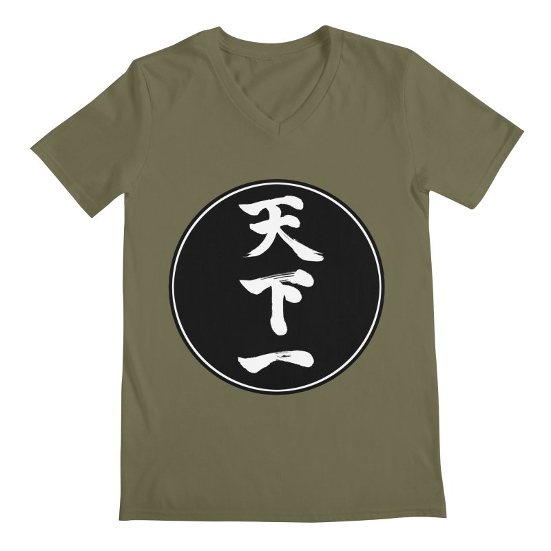 #1 Under Heaven (Tenkaichi) Kanji Circle Pop Art Men's Regular V-Neck by KansaiChick Japanese Kanji Shop