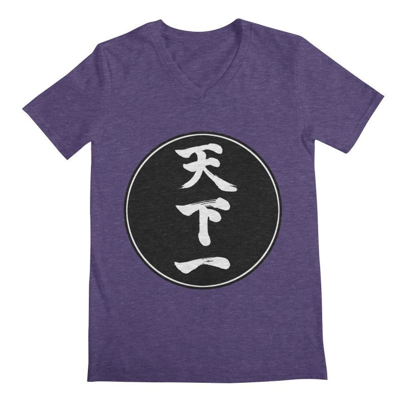 #1 Under Heaven (Tenkaichi) Kanji Circle Pop Art Men's Regular V-Neck by KansaiChick Japanese Kanji Shop