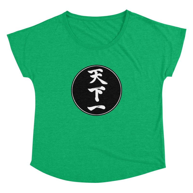 #1 Under Heaven (Tenkaichi) Kanji Circle Pop Art Women's Dolman Scoop Neck by KansaiChick Japanese Kanji Shop