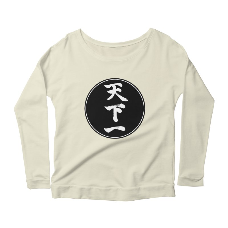 #1 Under Heaven (Tenkaichi) Kanji Circle Pop Art Women's Scoop Neck Longsleeve T-Shirt by KansaiChick Japanese Kanji Shop