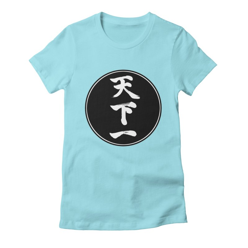 #1 Under Heaven (Tenkaichi) Kanji Circle Pop Art Women's Fitted T-Shirt by KansaiChick Japanese Kanji Shop