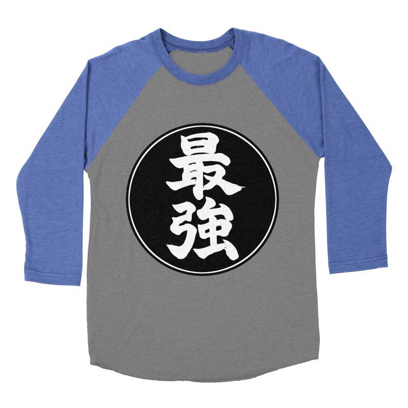 Strongest (Saikyou) Kanji Circle Pop Art Women's Baseball Triblend Longsleeve T-Shirt by KansaiChick Japanese Kanji Shop