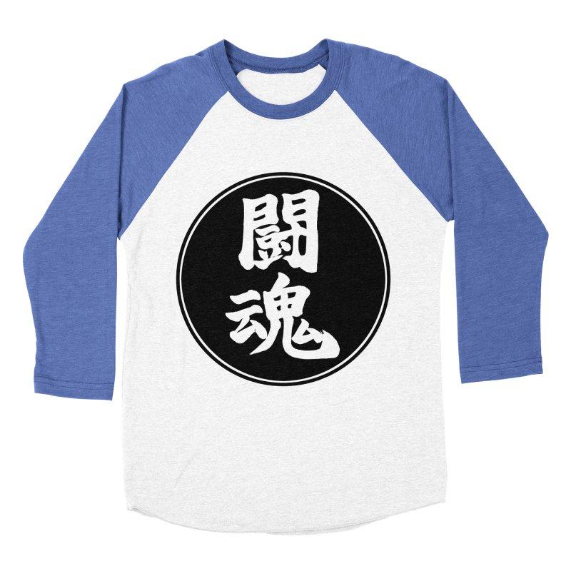 Fighting Spirit (Toukon) Kanji Circle Pop Art Women's Baseball Triblend Longsleeve T-Shirt by KansaiChick Japanese Kanji Shop