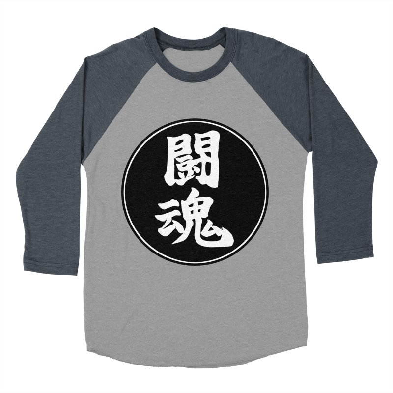 Fighting Spirit (Toukon) Kanji Circle Pop Art Women's Baseball Triblend Longsleeve T-Shirt by KansaiChick Japanese Kanji Shop